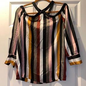 Satin Striped Dressy Cold Shoulder